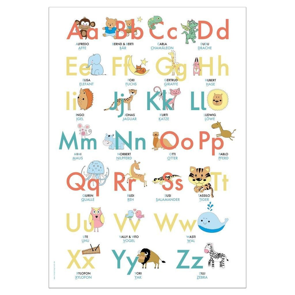 ABC Poster 20,20x20 cm   Alphabet spielerisch mit Tieren lernen   Das  ABC Lernposter mit Groß  und Kleinbuchstaben