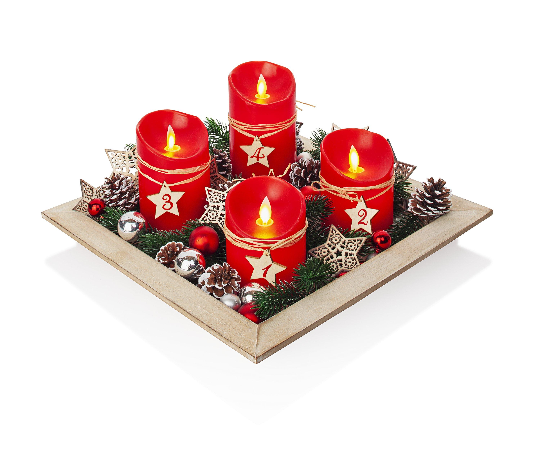 Deko Holz Kerzenhalter Teelichthalter 3-fach STERNE Advent 24 x 16 cm