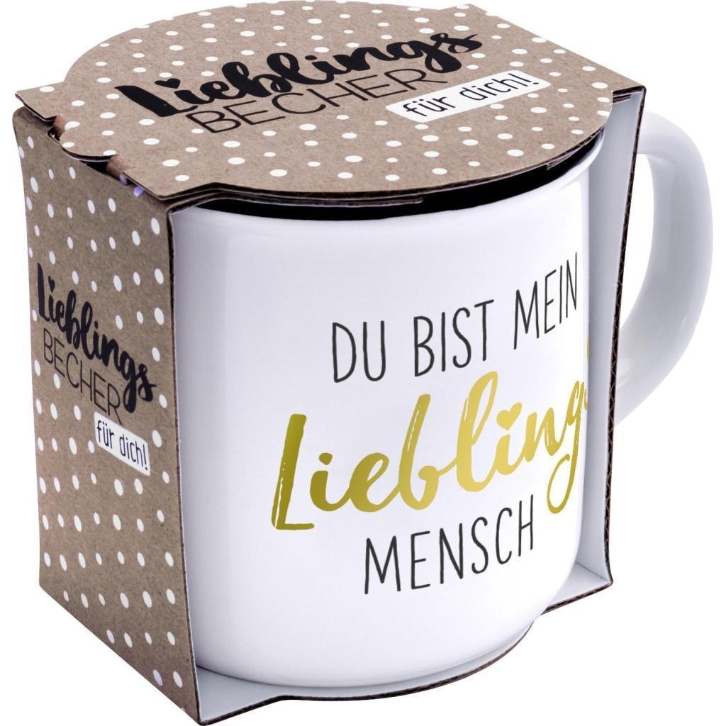 Emaille-Tasse mit Anh/änger Du bist mein Lieblingsmensch