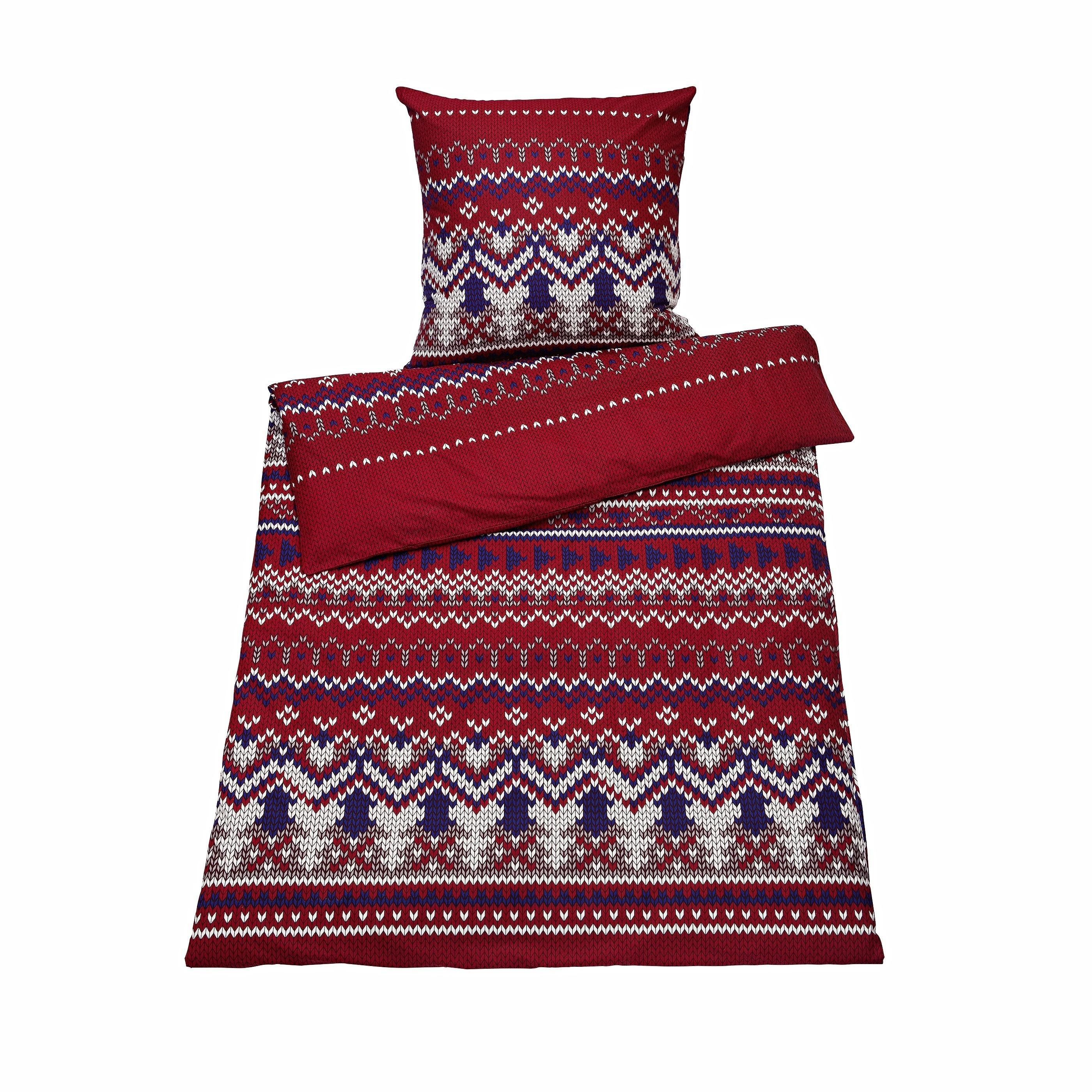 Biber Bettwäsche Göran 155 x 220 cm 100/% Baumwolle Reißverschluss Rot Weiß