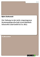 Die Haftung in der nicht eingetragenen Kommanditgesellschaft (einschließlich Schein-KG und GmbH & Co. KG) - eBook - Björn Ziolkowski,