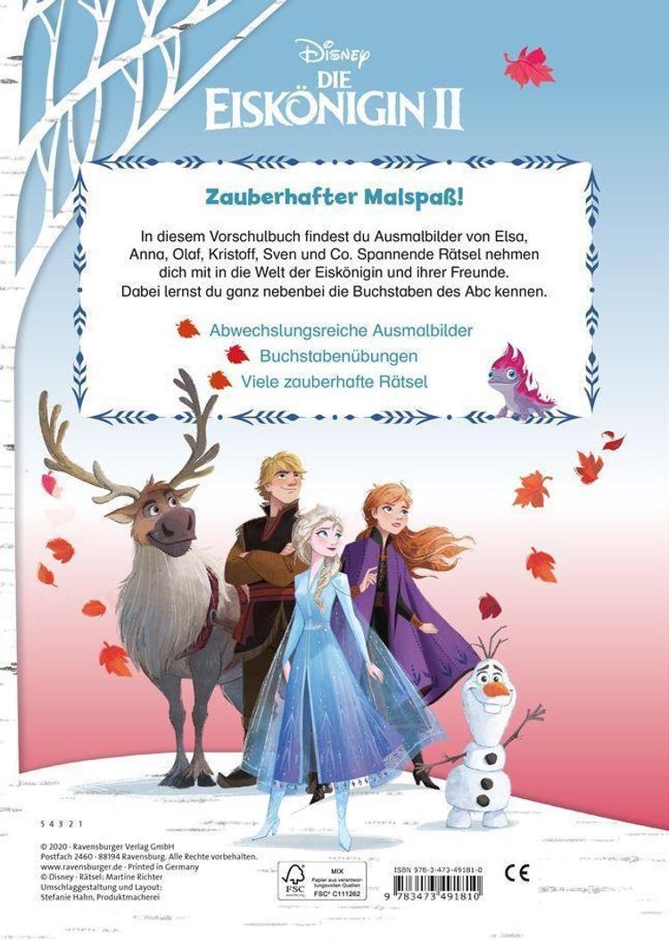 Disney Die Eiskönigin II: Mein Vorschulmalspaß. Erste Buchstaben