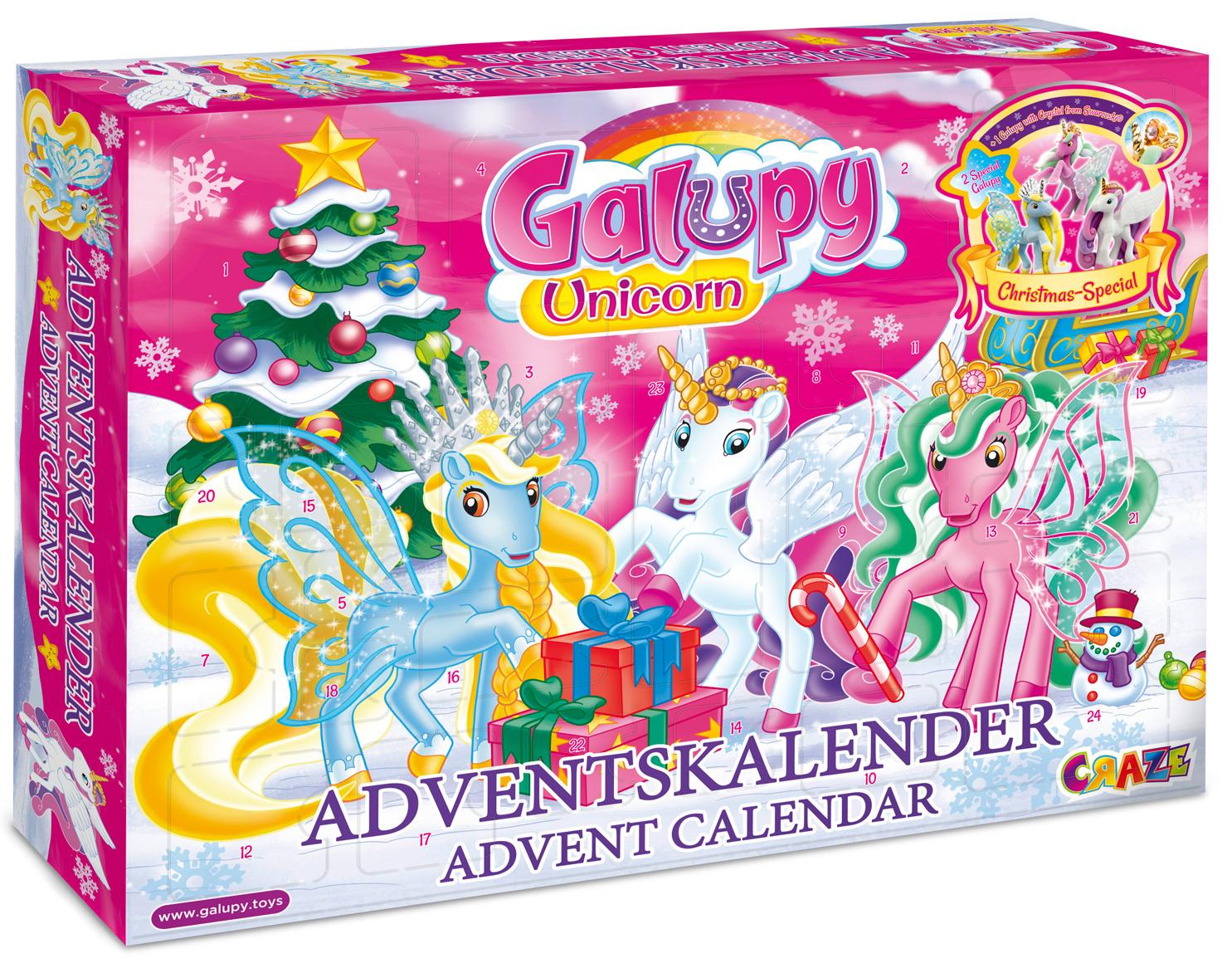 CRAZE Adventskalender GALUPY Unicorn Glitzerpferde Einhorn Weihnachtskalender