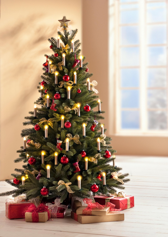 2er Set Kunststoff Teelicht Stern /& Weihnachtsbaum silber LED Farbwechsel