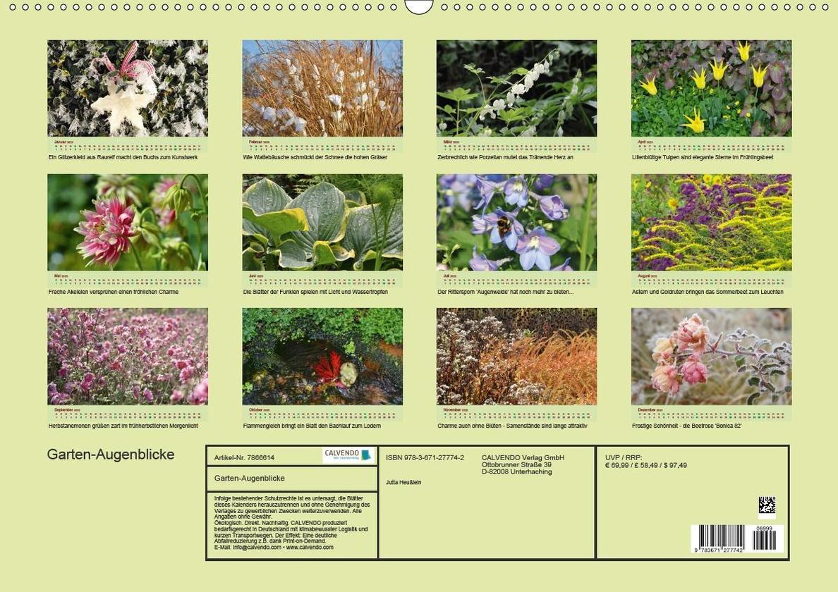 Garten Augenblicke Premium Kalender 2020 DIN A2 quer