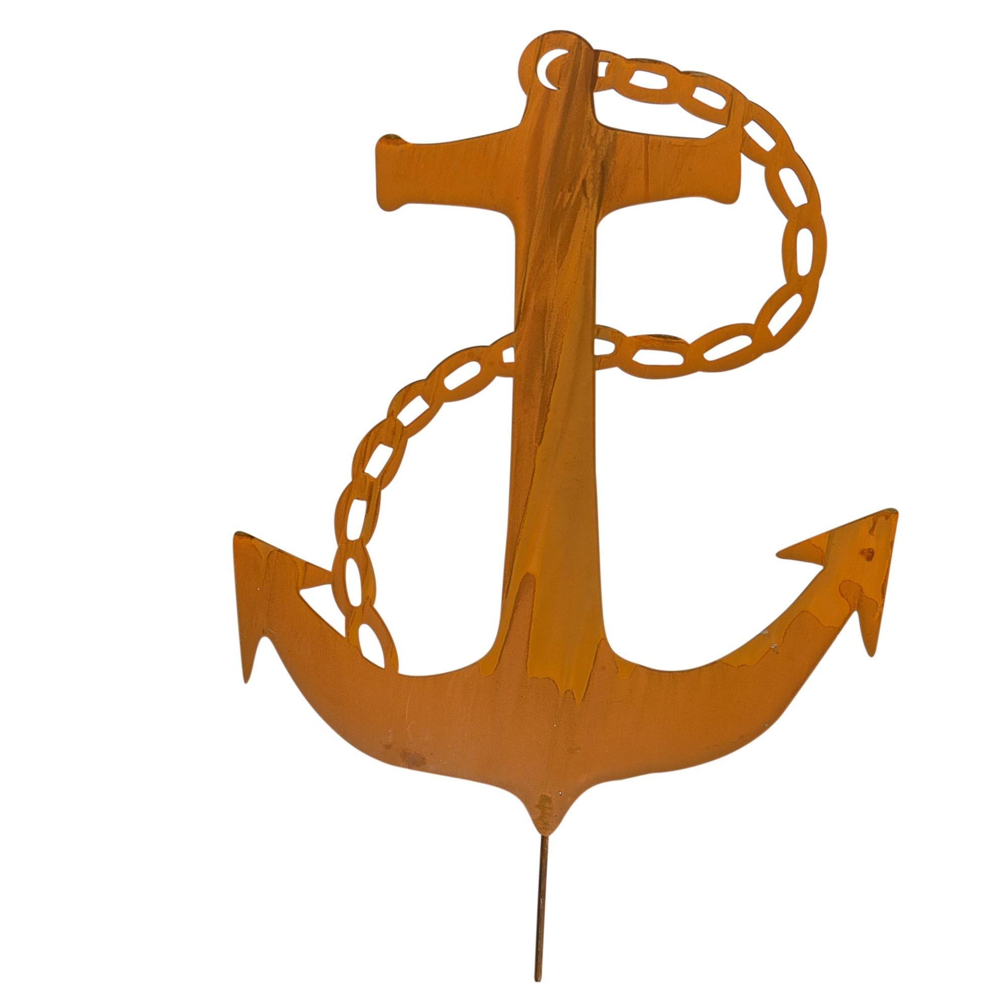 19 x 96 cm Gartenstecker maritim als Anker Naturrost ca