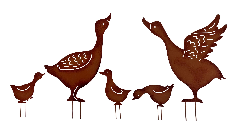 Gartenstecker 5 Enten NEU aus Metall  Metall in braun Beet 2 Eltern mit 3 Küken