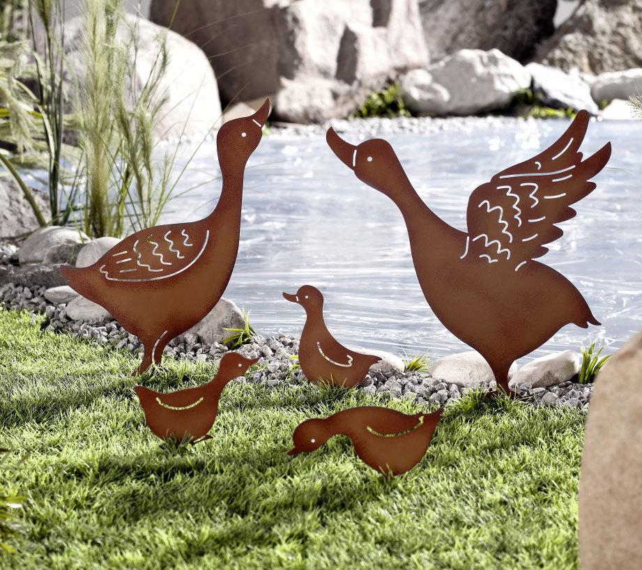 braun Gartenstecker Angler NEU aus Metall in rost