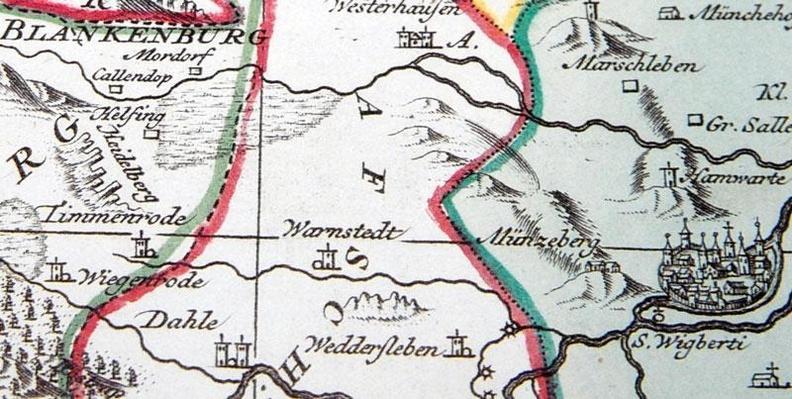 Historische Landkarte Furstentum Halberstadt Mit Der Abtei
