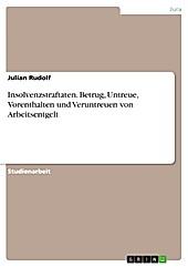 Insolvenzstraftaten. Betrug, Untreue, Vorenthalten und Veruntreuen von Arbeitsentgelt - eBook - Julian Rudolf,