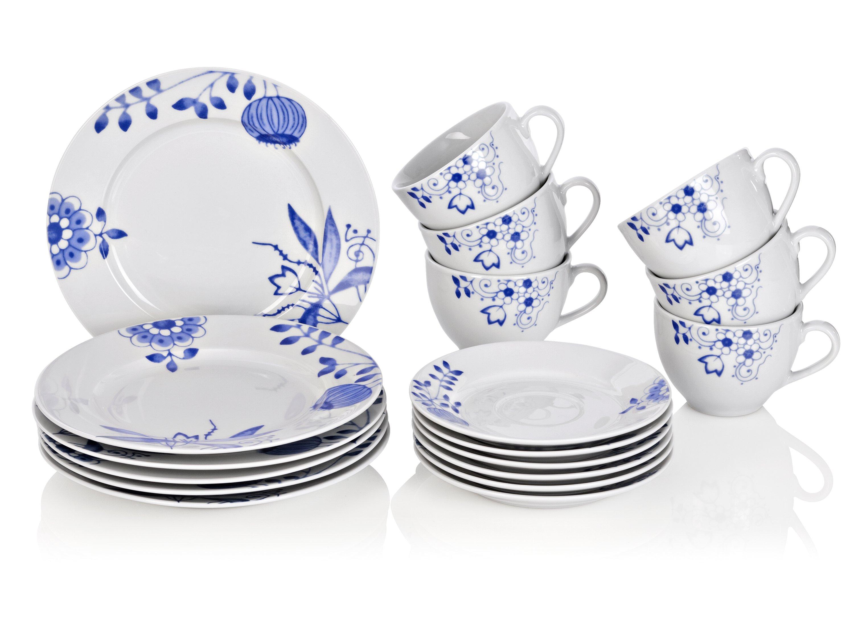 Kaffeeservice Service Kaffee Luisa Weiß Blau Porzellan Klassisch Dekor 18tlg