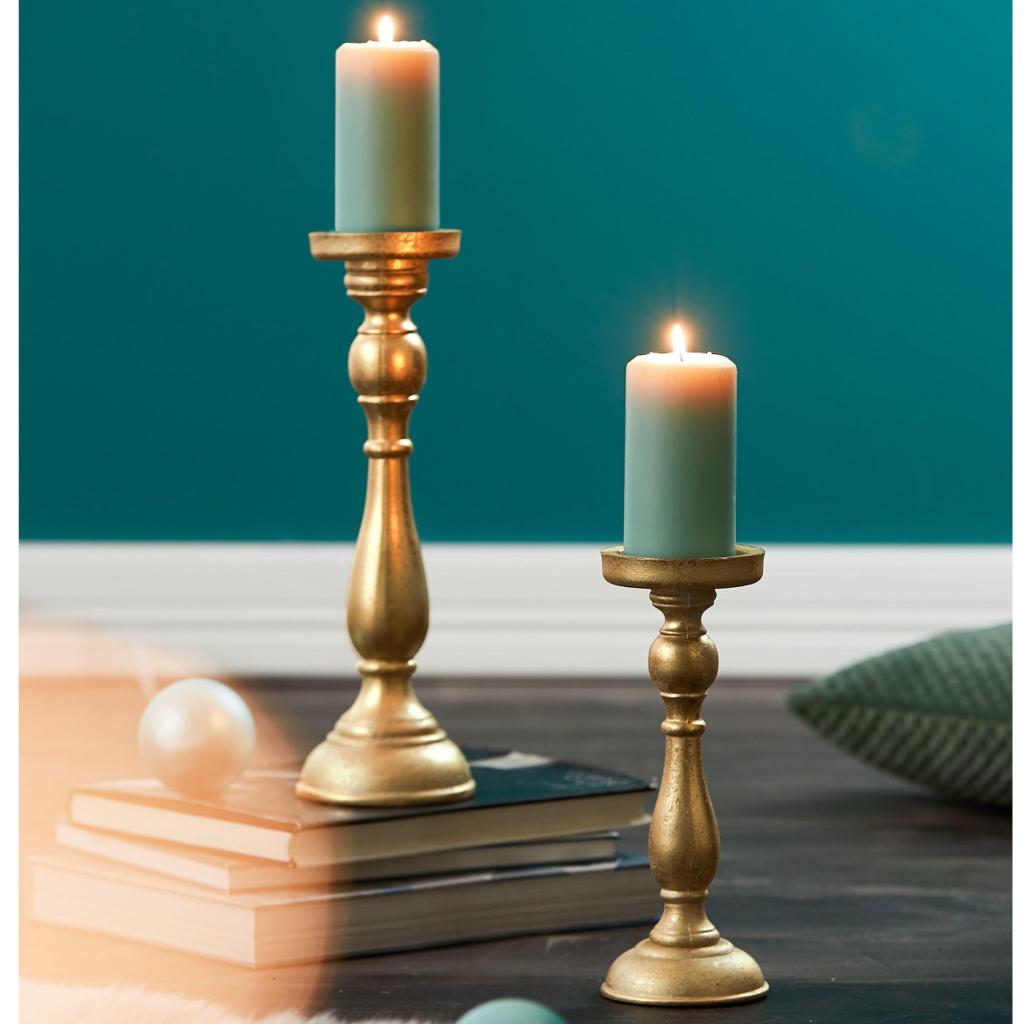 5 x Dekorativer 3-fach Kerzenhalter LÖWE Skulptur goldfarben 52