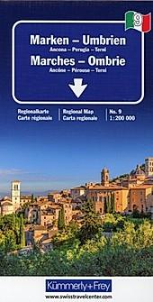 Kümmerly+Frey Karte Marken, Umbrien Regionalkarte; Marches, Ombrie / Marches, Umbria / Marche, Umbria.  - Buch