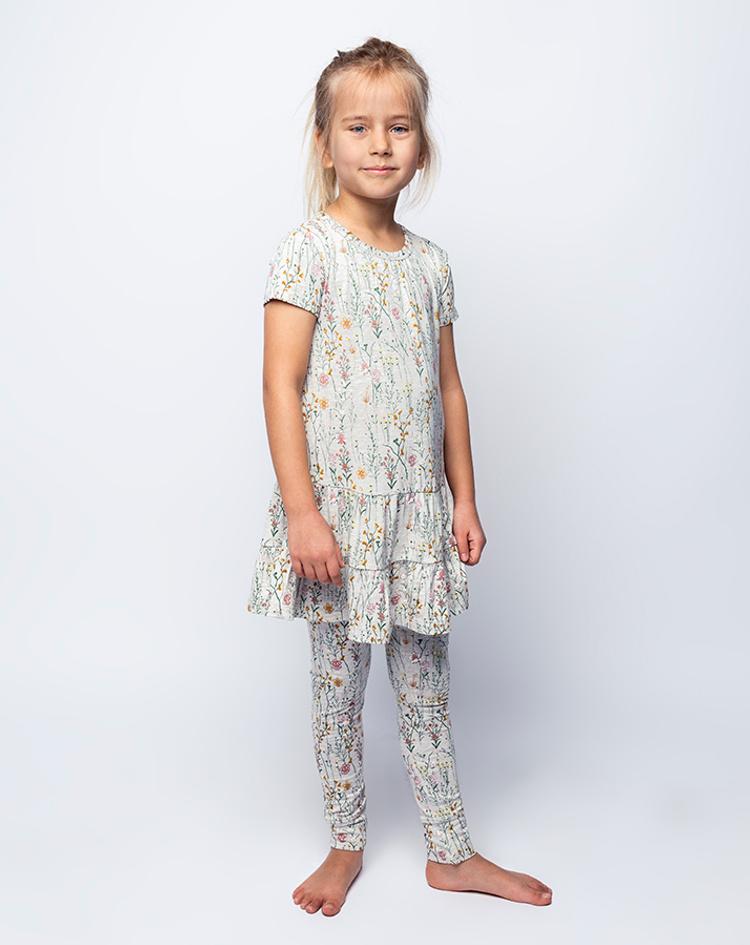 Kurzarm Kleid Fuia Geblumt In Grau Bestellen Tausendkind De