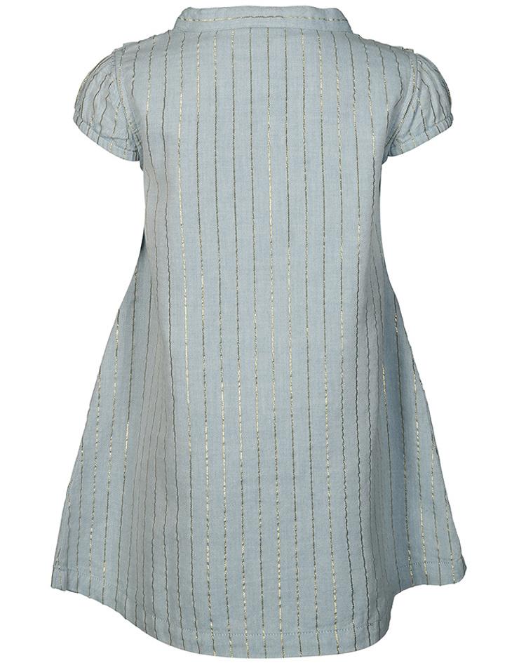Kurzarm Kleid Golden Strip In Hellblau Bestellen Tausendkind De