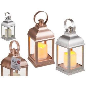 Laterne in Metallicfarben, mit LED Kerze
