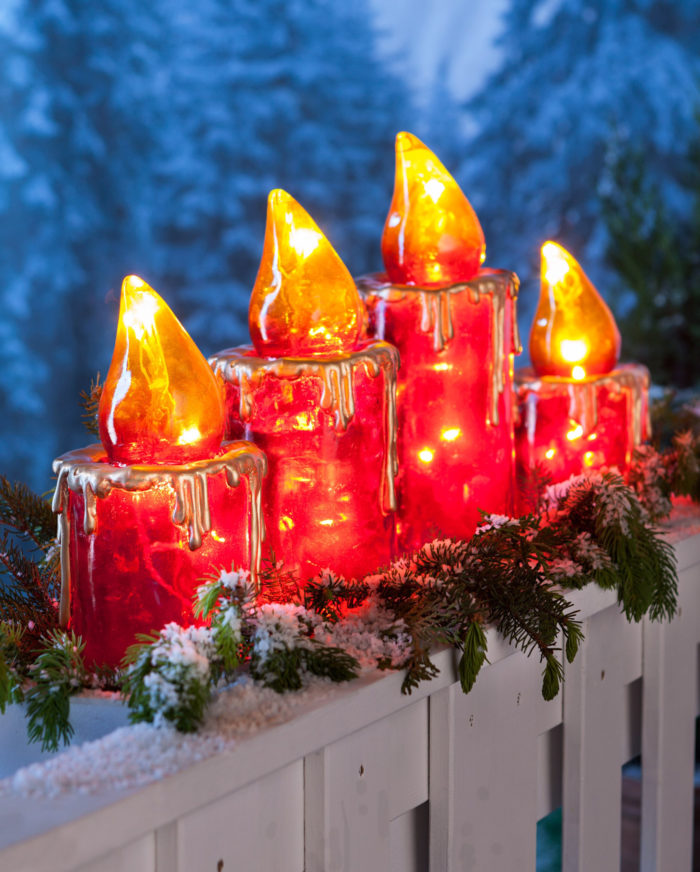 XXL Metall Kerzen 3er Set LED Beleuchtung Deko bleuchtet Außendeko Gartenstecker