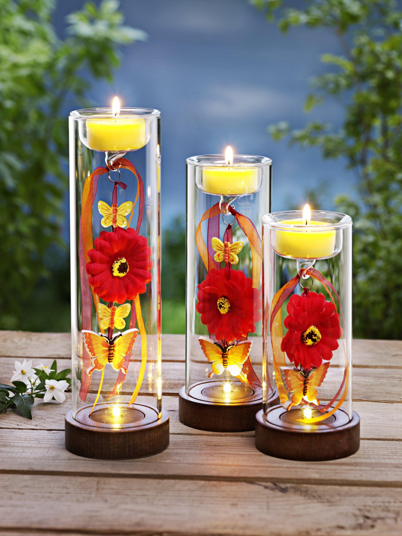Teelichthalter BLUME 3er Set Frühling Muttertag Kerzenhalter Teelicht Dekoration