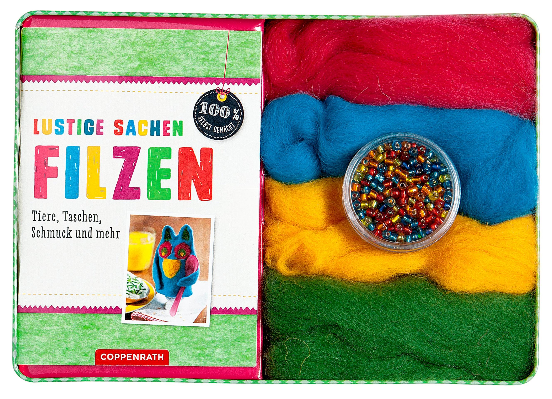 Lustige Sachen filzen, m. Filzwolle in 4 Farben u. 400
