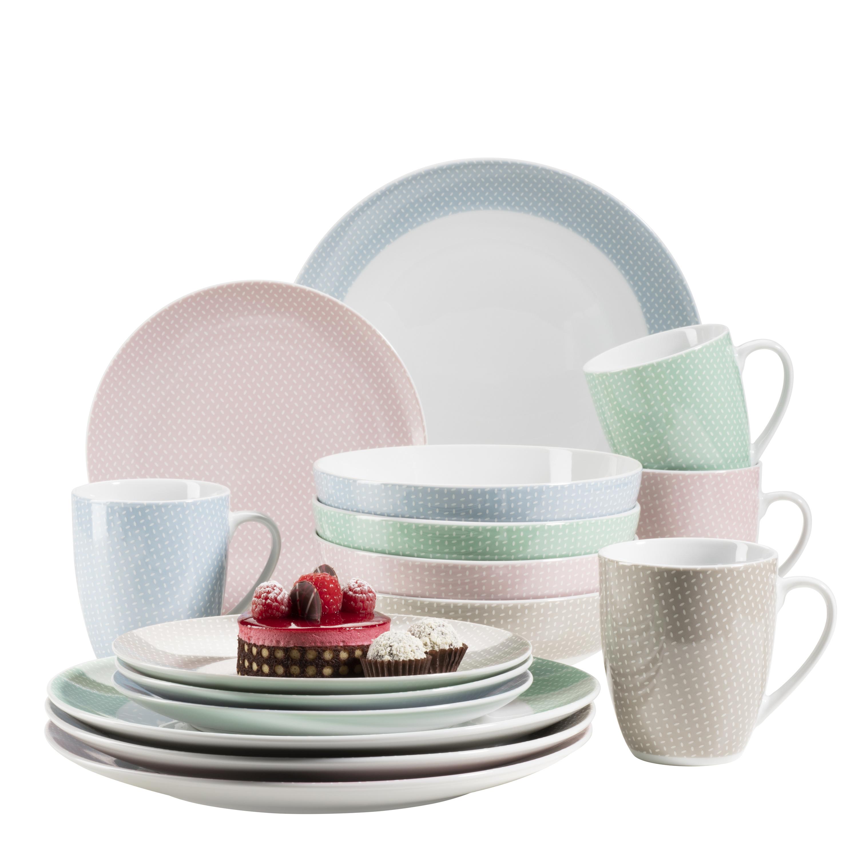 Maser Kitchen Time Ii Geschirr Set Porzellan 16 Tlg Farbe Rosa Blau Grun Beige Weltbild De