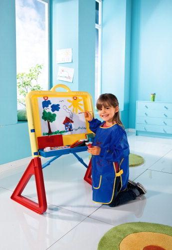 Malen 2x Mal und Bastelschürze in blau für Kinder mit drei Taschen zum Werken