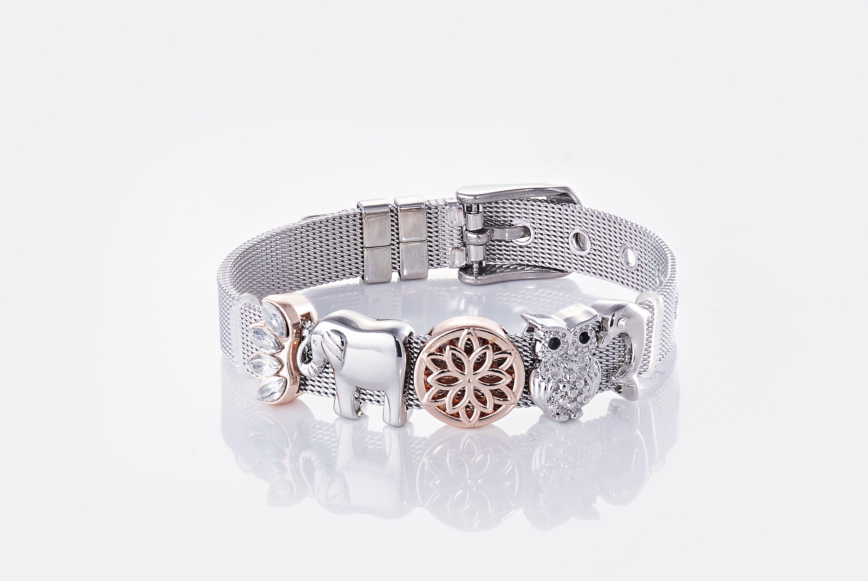 Mesh Armband mit Charms, silber