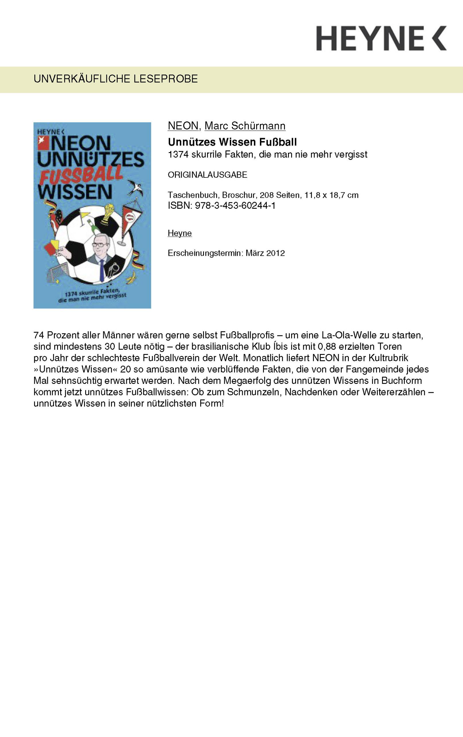 Neon Unnutzes Fussball Wissen Buch Versandkostenfrei Bei Weltbild De