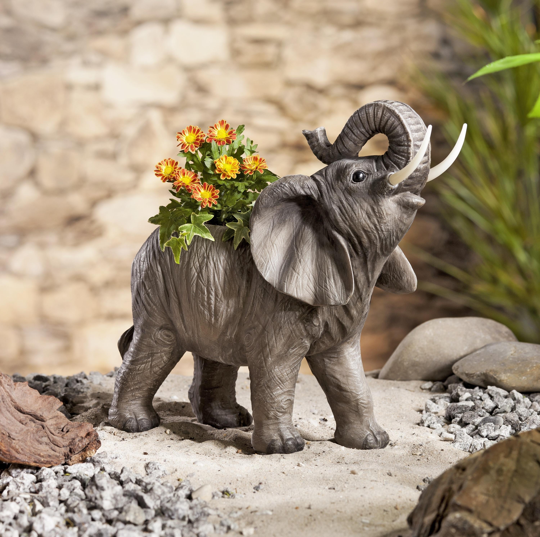 Pflanztopf Elefant mit Solar Leuchte Blumentopf Solarleuchte Garten Balkon Deko
