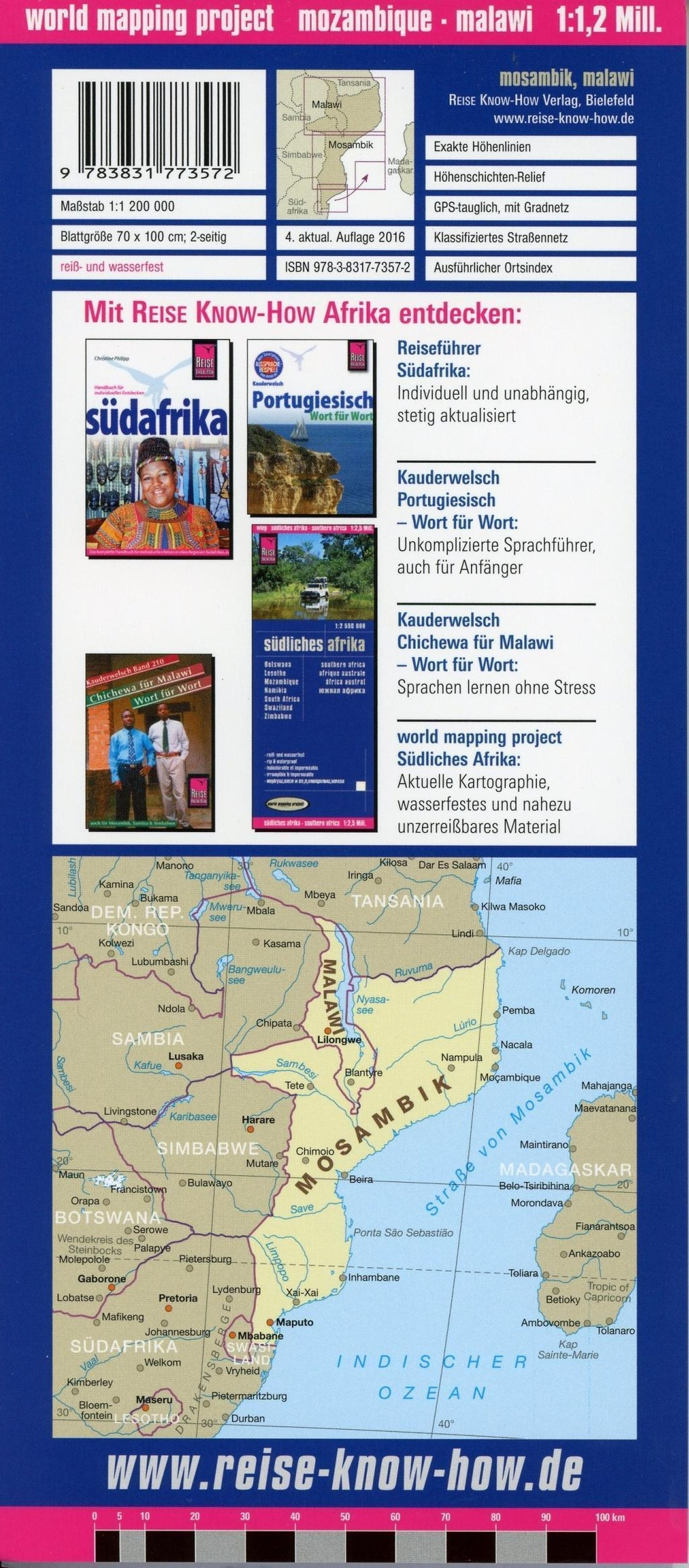 Reise Know How Landkarte Mosambik Malawi 1 1 200 000 Mozambique