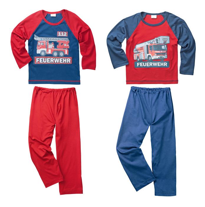 Schlafanzug Feuerwehr, 2er Set, marine rot Größe: 98 104