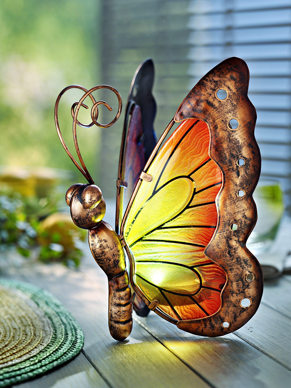Solar Wandleuchte mit Schmetterling und Blumen Metall