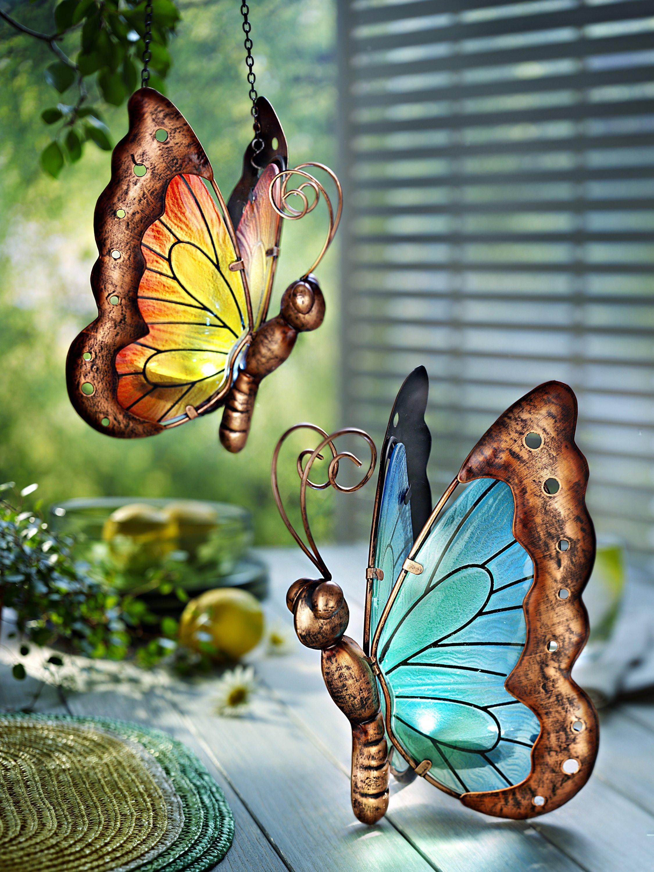 Solar LED Schmetterlinge Bella 2er-Set zum Stellen und Hängen abnehmbarer Kette