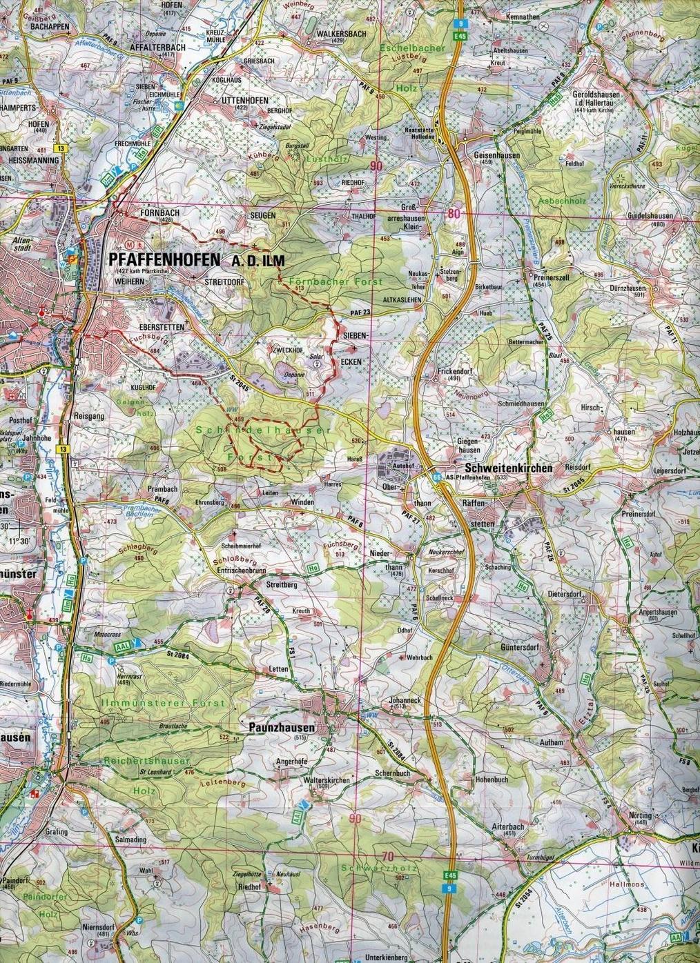 Topographische Karte Bayern Landkreise Pfaffenhofen A D Ilm