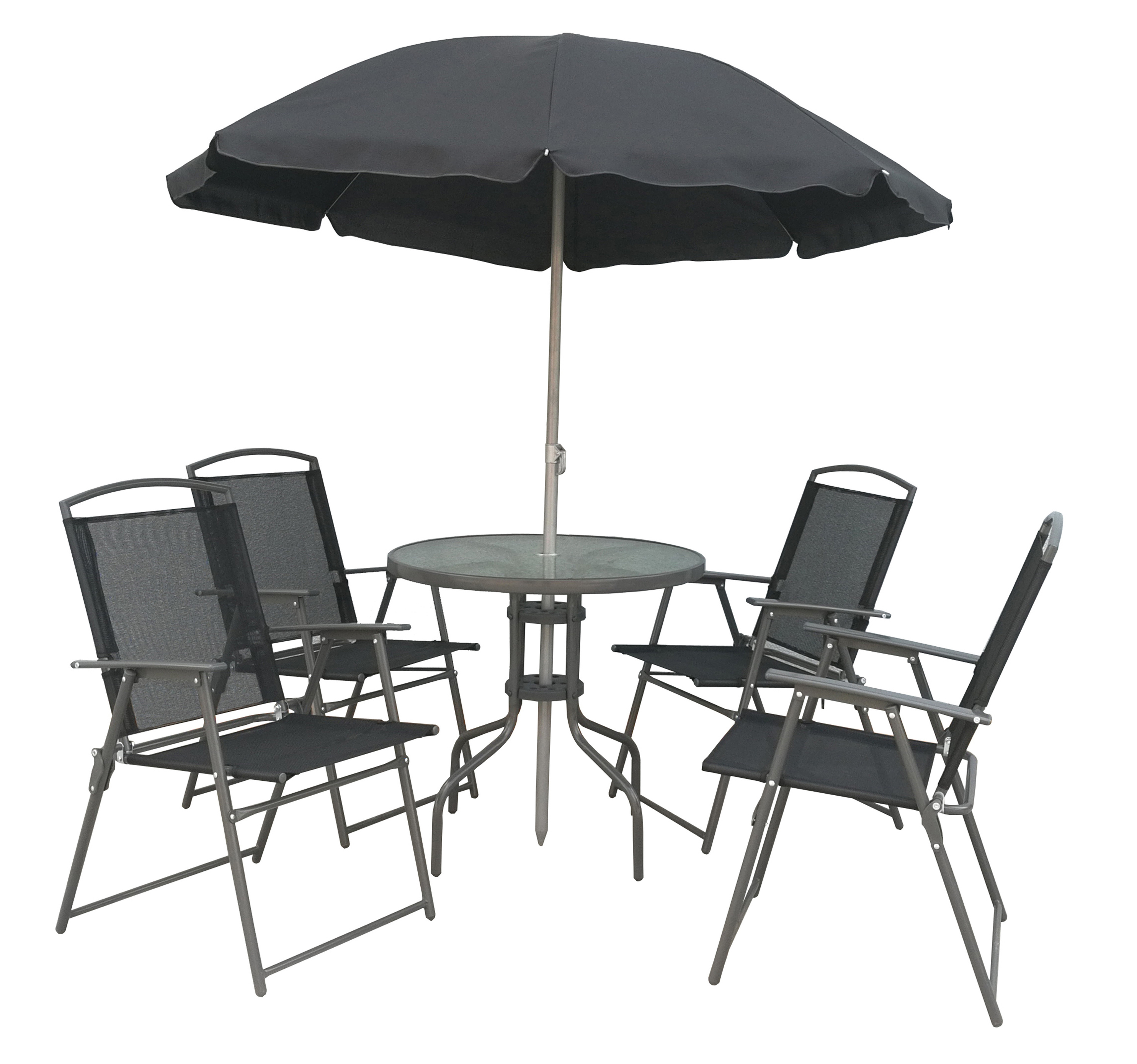 Vcm 6 Teiliges Gartenmobel Set Tisch Stuhle Schirm Vcm Metallsitzgruppe Farbe Anthrazit Weltbild De