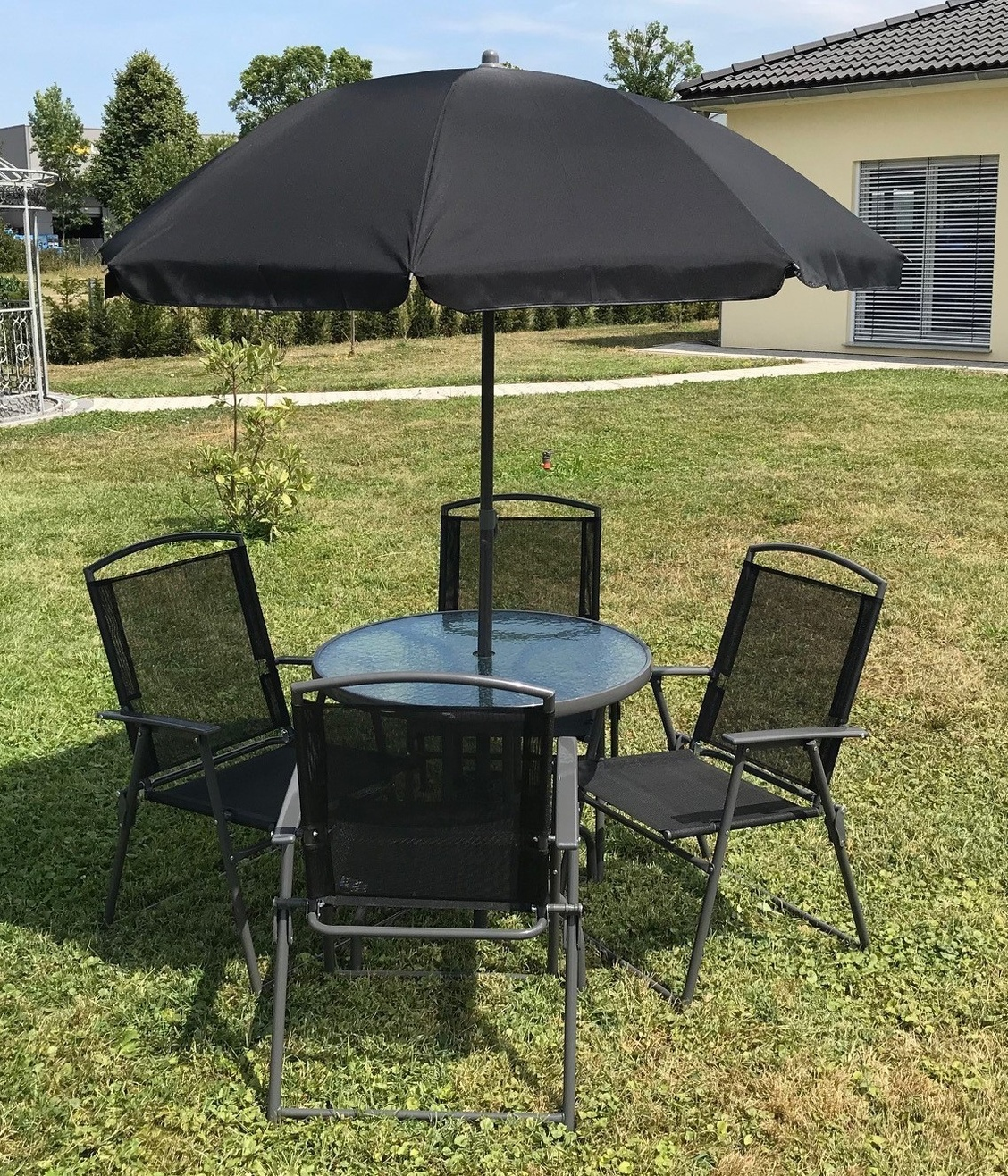 Vcm 6 Teiliges Gartenmobel Set Tisch Stuhle Schirm Vcm