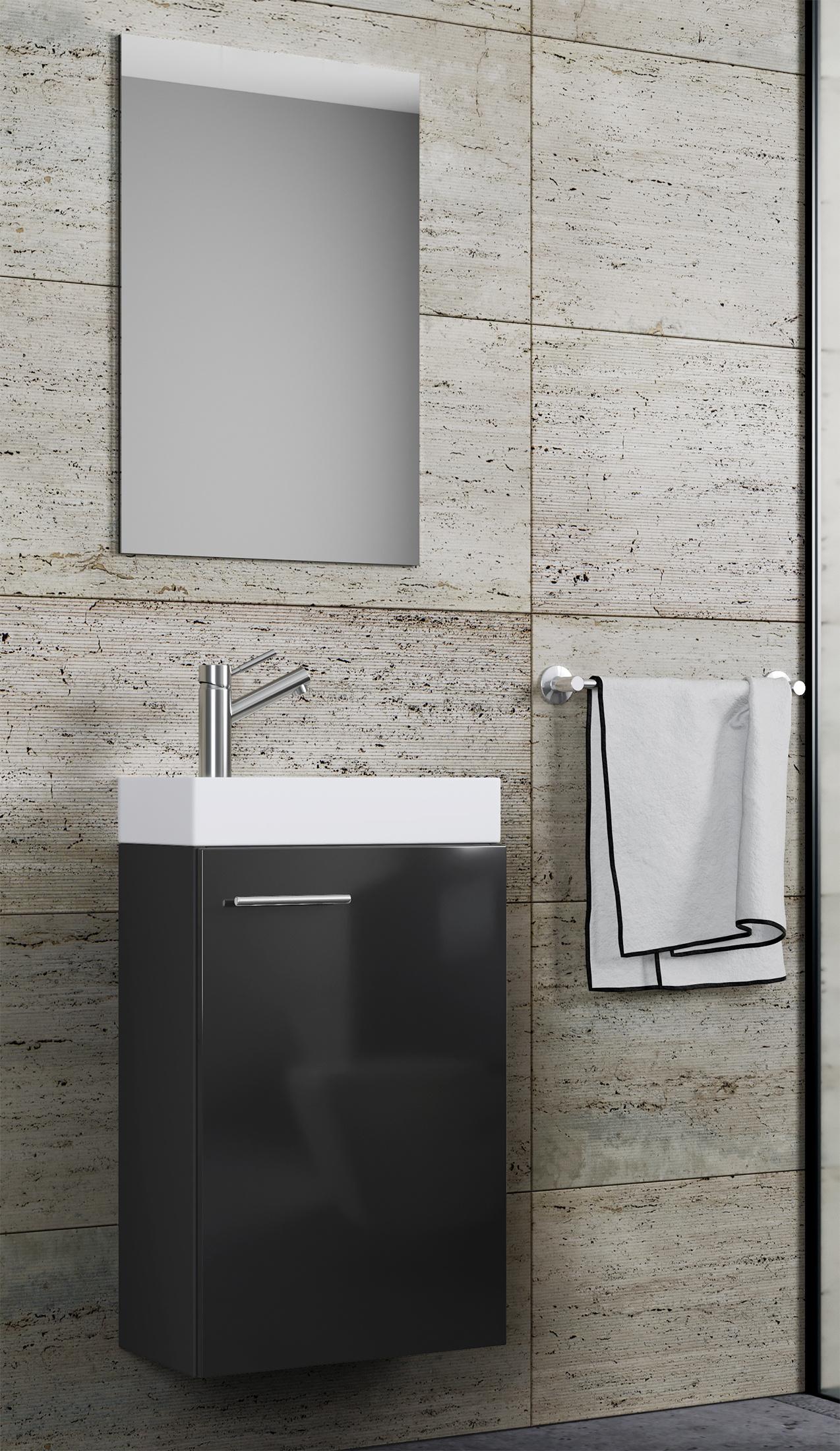Waschplatz Waschbecken mit Schrank Spiegel schwarz WC Gäste Toilette schmal NEU