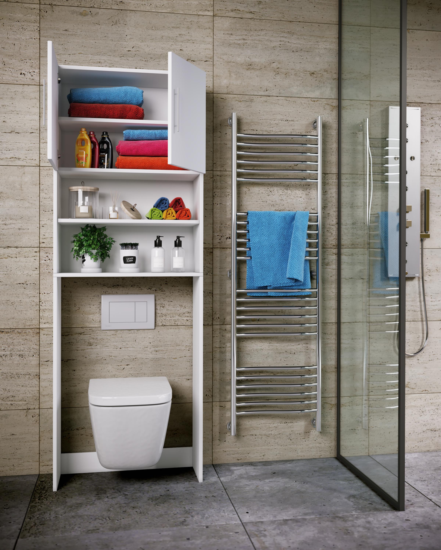 VCM WC /Überbauschrank Toilette Schrank Badschrank Badregal Badm/öbel Hochschrank Totas 190 x 64 Wei/ß