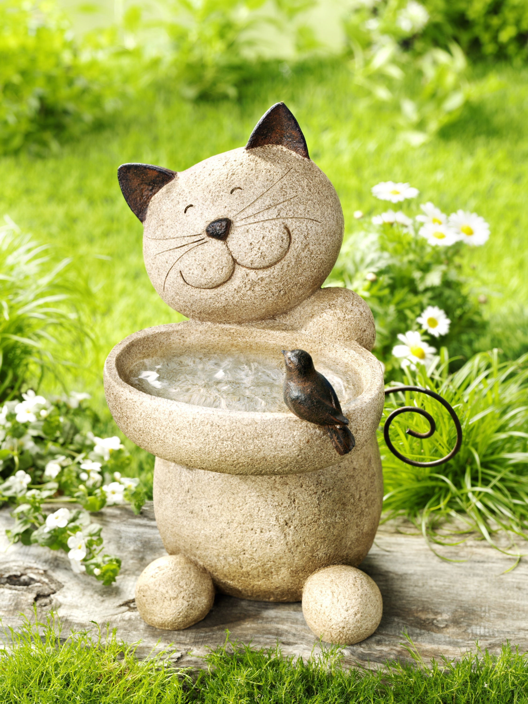 XXL Katze mit Solar Beleuchtung 6 LEDs Garten Dekoration Deko Skulptur Figur