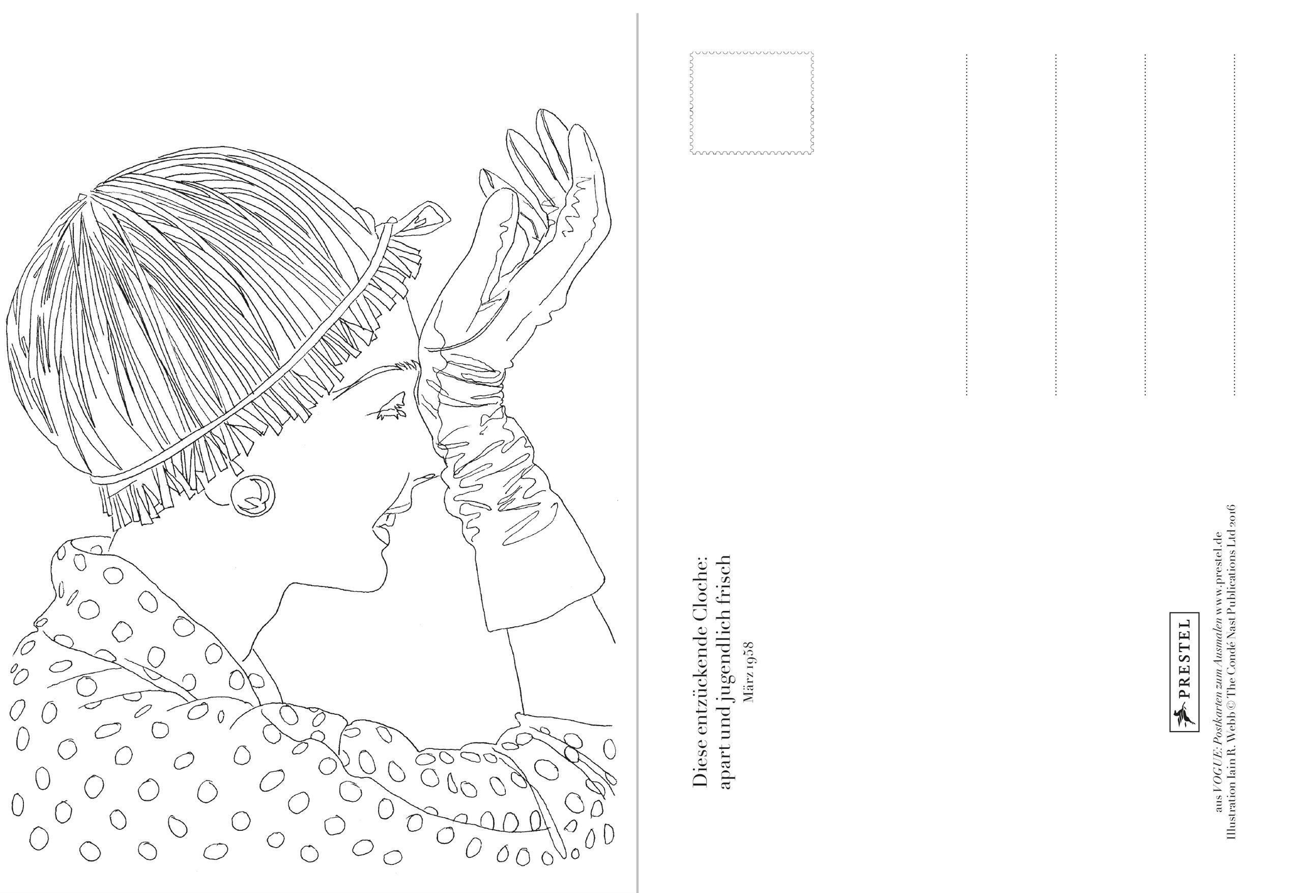 Gru/ßkarte Karte Geburtstag Vogue handgezeichnet