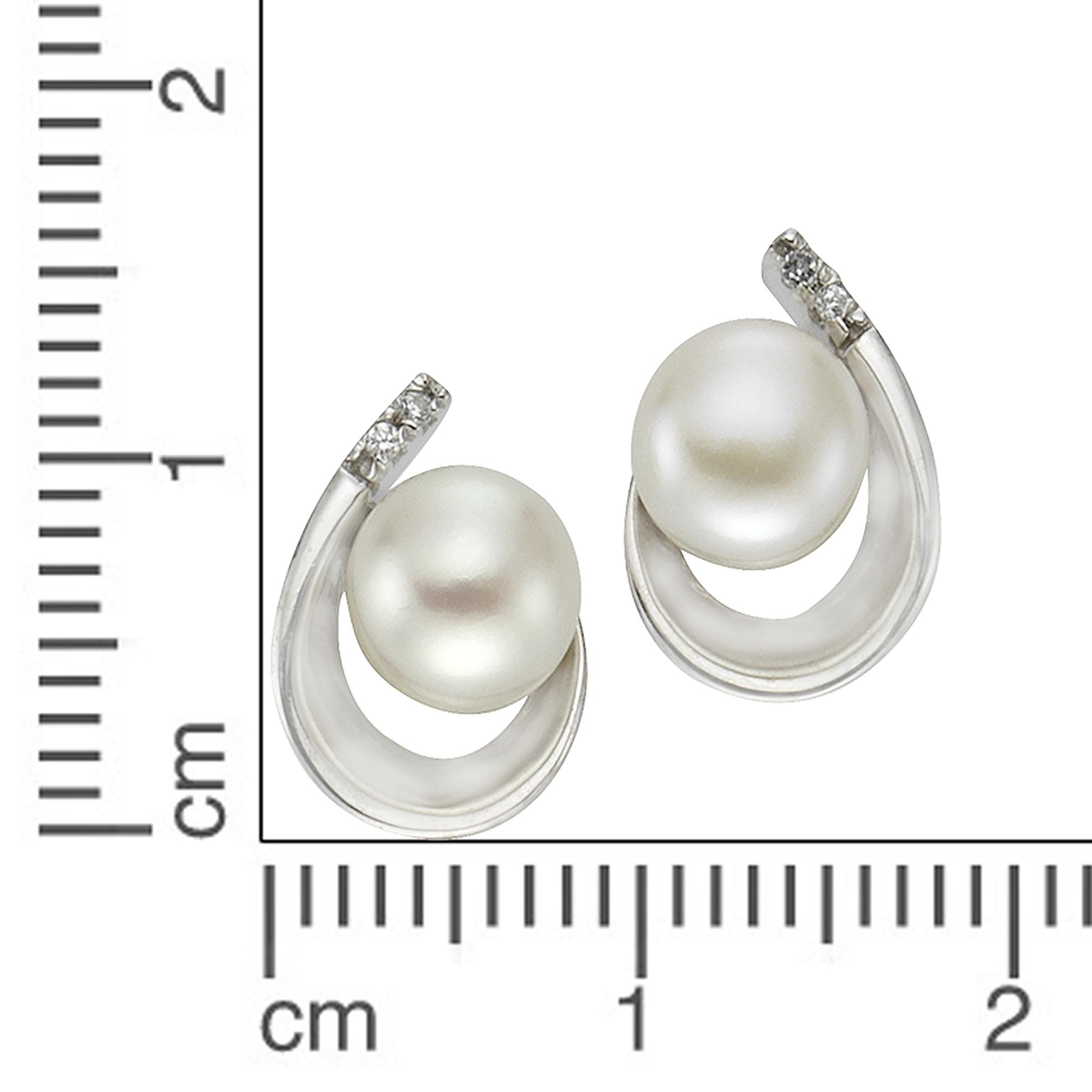 ZEEme Pearls Ohrhänger Ohrstecker 925 Sterling Silber Perle weiß poliert NEU