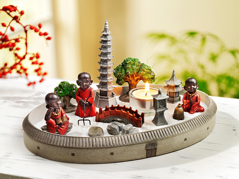 Deko Mini Zen Garten Buddha Teelichthalter Dekoration Feng Shui Asien Pagode
