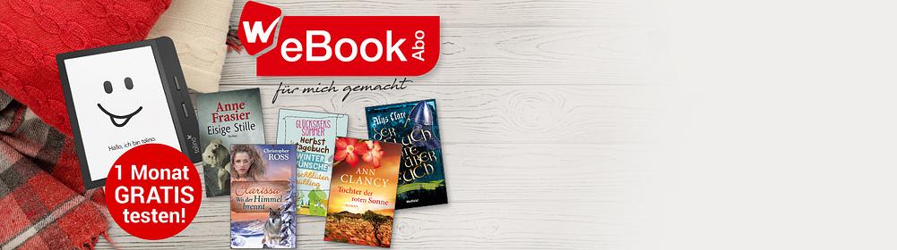 """##Nur bei Weltbild: Das WeBookAbo  - Jeden Monat 2 eBooks, die es nur bei Weltbild gibt: auswählen & loslesen.   - Solange Sie wünschen. Monatlich kündbar.   - **Jetzt GRATIS testen!**    {{ button href=""""/ebooks/ebook-abos/webookabo"""" text=""""Mehr Infos zum WeBookAbo"""" }}"""
