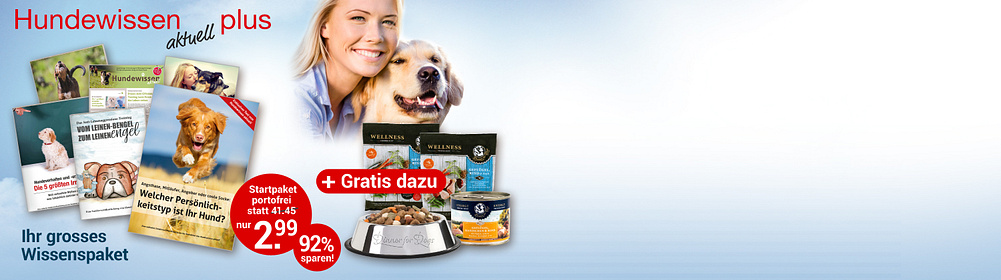 """Jede Menge Hundewissen zum Top-Preis!  Ihr großes Start-Paket enthält:  *     Startausgabe """"Hundewissen aktuell"""" mit den besten Themen in einem Heft *     5 exklusive Sonderhefte *     Plus Edelstahl-Futternapf von """"Dinner for dogs"""" *     Plus 1 x Nassfutter und 2 x Trockenfutter von """"Dinner for dogs""""   Gesamtwert: € 41.45 für Sie nur € 2.99 portofrei   {{ button href=""""https://www.weltbild.de/weltbild-editionen/hobby-praxiswissen/hundewissen"""" text=""""Hier klicken"""" }}"""
