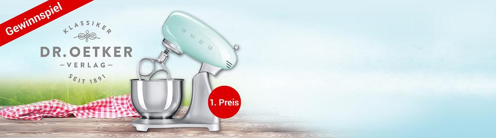 """##Tolles Dr. Oetker-Gewinnspiel!  Passend zu den neuen Büchern von Dr. Oetker verlosen wir viele **tolle Preise** für das perfekte Koch- und Backvergnügen.  **Zu gewinnen gibt es:**  **1. Preis:** Hochwertige Küchenmaschine von SMEG im Retro-Design **2. Preis:** Kaiser-Springform (Ø ca. 26 cm) + eine Kochschürze mit Dr. Oetker-Logo **3. Preis:** Dr. Oetker-Grundbackbuch + Ausstechförmchen  **Jetzt mitmachen und Gewinnchance nutzen!**  {{ button href=""""https://weltbild.de/themenwelten/gewinnspiel/droetker"""" text=""""Zum Gewinnspiel"""" }}"""