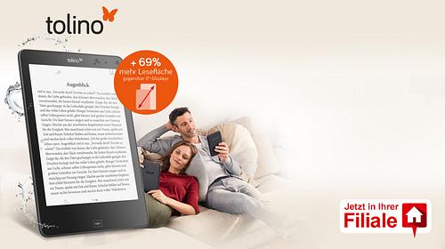 # Beratung - persönlich für Sie  Nur in Ihrer Filiale können Sie die aktuellen tolino eBook Reader in aller Ruhe ausprobieren. Wir geben Ihnen hilfreiche Tipps und nützliche Infos zum digitalen Lesen und helfen gerne beim Herunterladen ihrer eBooks.