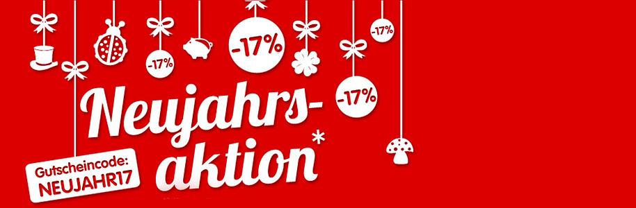 Neujahrsaktion - Sichern Sie sich jetzt  17% Rabatt auf alles!*   Zum Start in das neue Jahr lassen wir es gleich richtig krachen: Bestellen Sie vom 31.12.2016 bis 02.01.2017 Ihre Lieblingsartikel bei weltbild.ch und erhalten Sie  17% Rabatt!
