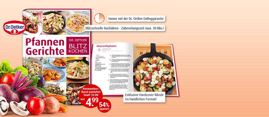 """#Rezepte mit Geling-Garantie!  Sie möchten täglich lecker und gesund kochen? Aber dazu fehlt Ihnen die Zeit? Dann ist die Edition """"Dr. Oetker Blitz-Kochen"""" genau richtig für Sie: tolle und abwechslungsreiche Rezepte, bei denen die **Zubereitungszeit maximal 30 Minuten** beträgt! Von der Blitz-Pasta über leichte Salate, schnelle Aufläufe bis hin zu Partyrezepten und Desserts – Dank der **Dr. Oetker-Gelinggarantie** geht alles einfach und vor allem blitzschnell.  **Starten Sie mit """"Pfannengerichte""""**    Eine Pfanne, ein Rezept und wenige Zutaten – mehr braucht man nicht, um im Handumdrehen ein leckeres Pfannengericht auf den Tisch zu bringen. Die Grundlage dafür bilden Kartoffeln, Gemüse oder Nudeln. Fleisch, Fisch und Pilze runden sie ab. Kräuter, Gewürze, Nüsse und Saucen geben einen asiatischen, mediterranen oder klassischen Touch: So ist für jeden Geschmack und Anlass etwas dabei.  **Sie werden begeistert sein - gleich portofrei anfordern!**  {{ button href=""""/weltbild-editionen/kochen-backen/dr-oetker-blitz-kochen/bestellen"""" text=""""Jetzt bestellen""""}} {{ button href=""""https://www.weltbild.at/news/downloads/Dr-Oetker-Blitzkochen_Pfannengerichte.pdf"""" text=""""Zur Leseprobe"""" }}"""