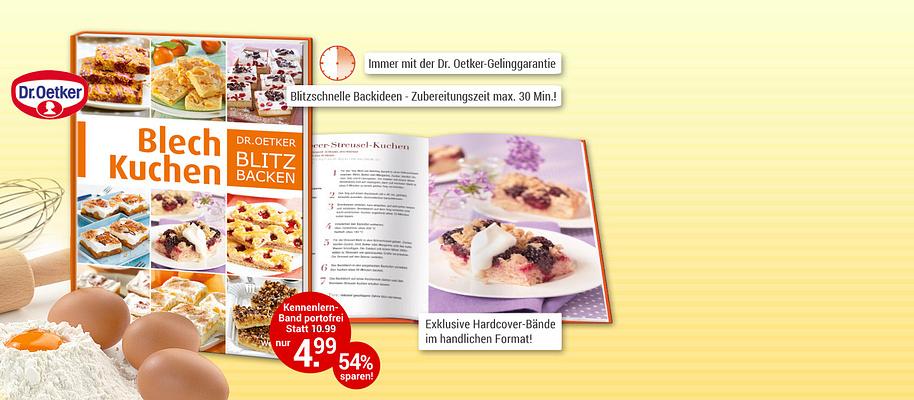 """#Superschnelle und einfache Backideen!  Sie möchten eben noch schnell einen Kuchen zaubern, zum Beispiel für die Oster-Feiertage? Überzeugen Sie sich selbst von einer einzigartigen Exklusiv-Edition, mit der Sie garantiert im Handumdrehen die köstlichsten Kuchen backen. Mit Rezepten, bei denen die Zubereitungszeit maximal 30 Minuten beträgt!   Ob Käse- oder Obstkuchen, feine Torten, Streuselkuchen, Muffins, Kleingebäck oder pikante Leckereien – mit der Dr. Oetker-Geling-Garantie klappt alles schnell und einfach.    **Starten Sie mit traumhaften Blechkuchen**  Verwöhnen Sie Ihre Familie und Gäste so richtig mit leckeren Kuchen vom Blech! Von Klassikern wie Butterkuchen über fruchtig belegten Brombeer-Streusel-Kuchen, Schoko-Nougat-Schnitten, Aprikose-Mandel-Brownies oder dem klassischen Apfelkuchen vom Blech – Sie werden staunen, wie einfach das ist!    **Überzeugen Sie sich am besten selbst!**   {{ button href=""""/weltbild-editionen/kochen-backen/dr-oetker-blitz-backen/bestellen"""" text=""""Jetzt bestellen""""}} {{ button href=""""https://www.weltbild.at/news/downloads/Dr-Oetker-Blitzbacken_Blechkuchen.pdf"""" text=""""Zur Leseprobe"""" }}"""