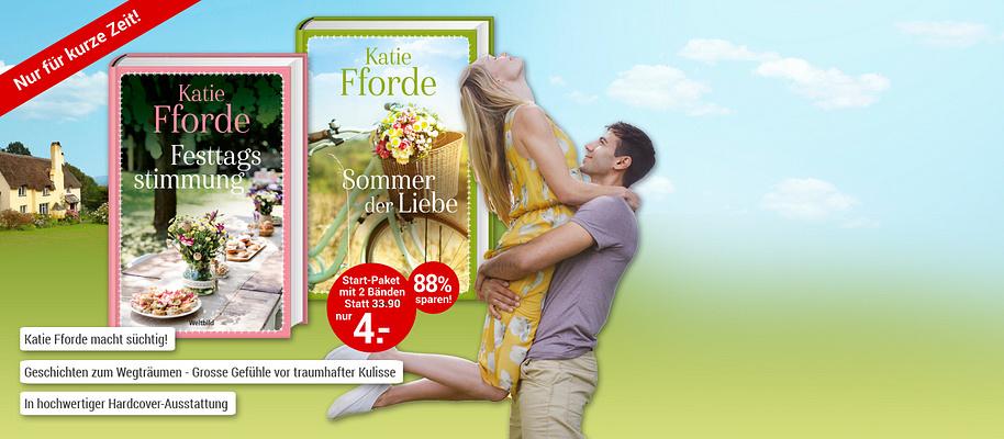 """#Liebe, Gefühle und Romantik!  Freuen Sie sich auf die heiter-romantischen Romane der britischen Bestseller-Autorin Katie Fforde. **Bekannt aus den ZDF-Verfilmungen.**  **Einmalige Autoren- Edition in hochwertiger Ausstattung**.  **Starten Sie mit """"Sommer der Liebe""""** Sian ist mit ihrem kleinen Sohn aufs Land gezogen. Dort lernt sie die fröhliche Fiona kennen, die ihr bald eine mütterliche Freundin wird. Beide sehnen sich nach ein bisschen Erfrischung in Sachen Liebe, daher will Sian die Affäre mit einem treuen Verehrer wiederbeleben. Doch das Schicksal hat ganz andere Pläne und präsentiert ihnen das Glück eines Tages gleich im Doppelpack ...  **Entdecken Sie auch den zweiten Band """"Festtagsstimmung"""" aus Ihrem exklusiven Start-Paket! **   {{ button href=""""/weltbild-editionen/romane-dokumentationen/katie-fforde-2Euro/bestellen-2Euro"""" text=""""Jetzt bestellen""""}} {{ button href=""""https://www.weltbild.de/news/downloads/Leseprobe_Katie_Fforde.pdf"""" text=""""Zur Leseprobe"""" }}"""