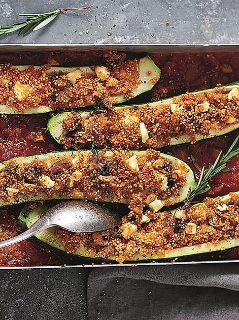 """Rezept aus """"Abnehmen nach dem 20:80 Prinzip"""" (Zucchini mit Quinoafüllung)"""